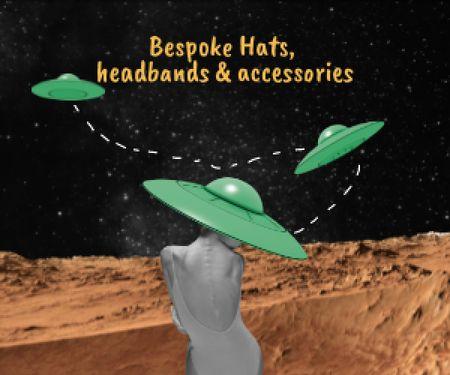 Funny Illustration with Woman in UFO hat Medium Rectangle Modelo de Design