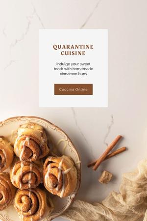 Modèle de visuel Tasty sweet cinnamon buns and Coffee - Pinterest