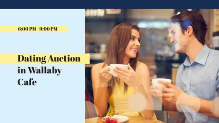 Charity Event Announcement with Couple on Date in Cafe FB event cover Design Template