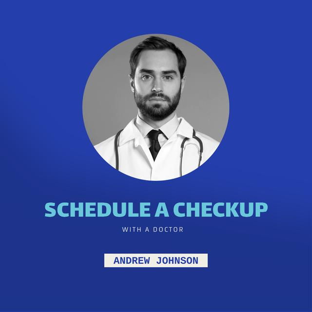Medical Checkup Offer with Doctor's Portrait Animated Post Design Template