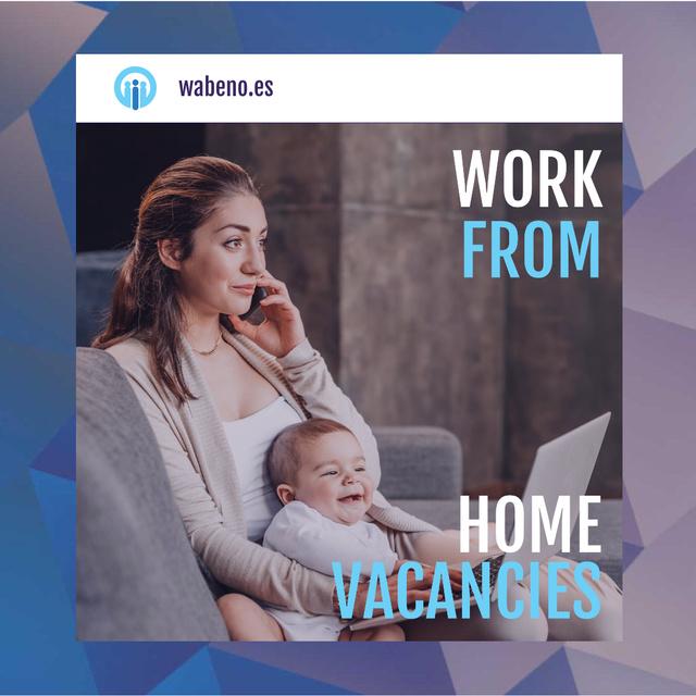 Ontwerpsjabloon van Animated Post van Freelancer Mother Working at Home with Baby