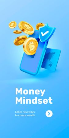 Phone with coins for Money Mindset Graphic Design Template