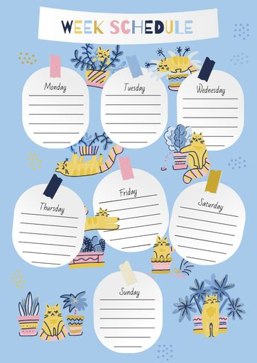 Week Schedule Planner With Funny Cats