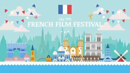 France famous travelling spots for film festival FB event cover Modelo de Design