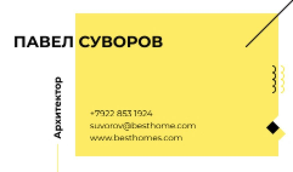 Architect Business Contacts in Yellow Business card – шаблон для дизайна