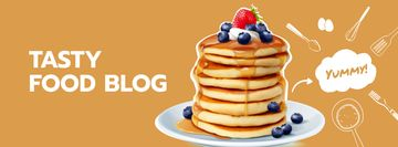 Food Blog Ad with Sweet Pancakes