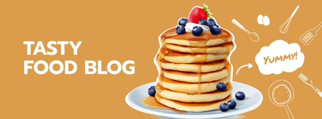 Designvorlage Food Blog Ad with Sweet Pancakes für Facebook Video cover