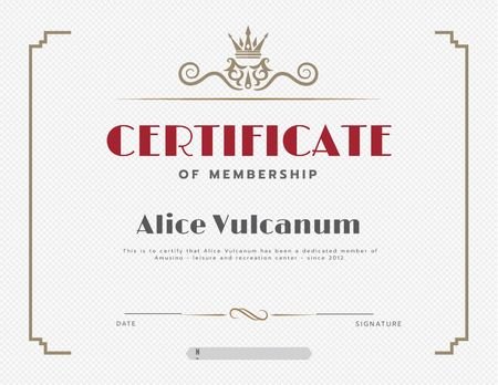 Ontwerpsjabloon van Certificate van Leisure Center Membership confirmation in vintage frame