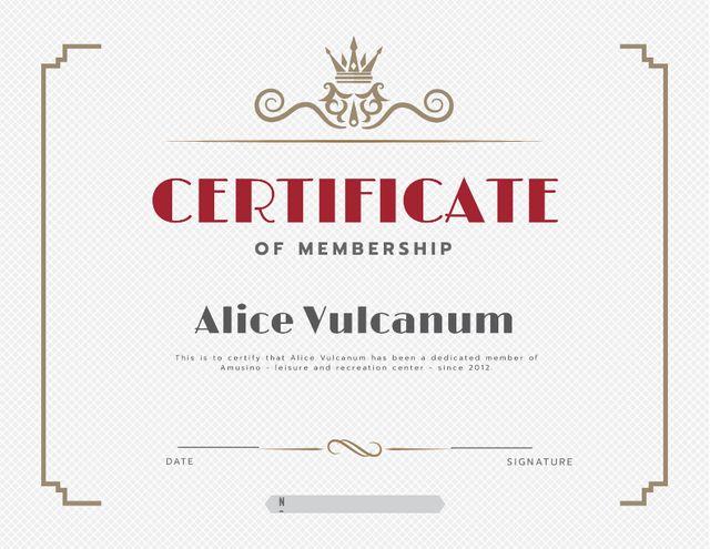Leisure Center Membership confirmation in vintage frame Certificateデザインテンプレート