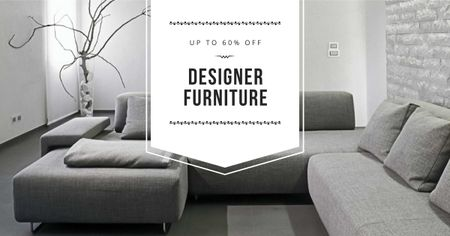 Ontwerpsjabloon van Facebook AD van Furniture sale with Sofa in grey