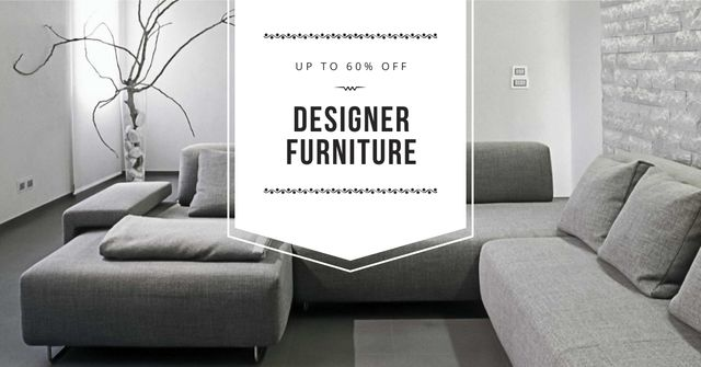 Furniture sale with Sofa in grey Facebook AD Modelo de Design