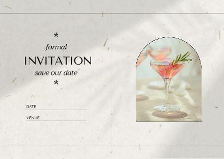 Ontwerpsjabloon van Card van Wedding Day Announcement with Summer Cocktail