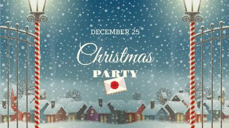 Modèle de visuel Christmas Party Announcement with Snowy Village - FB event cover