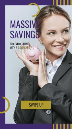 Ontwerpsjabloon van Instagram Story van Businesswoman holding Piggy Bank