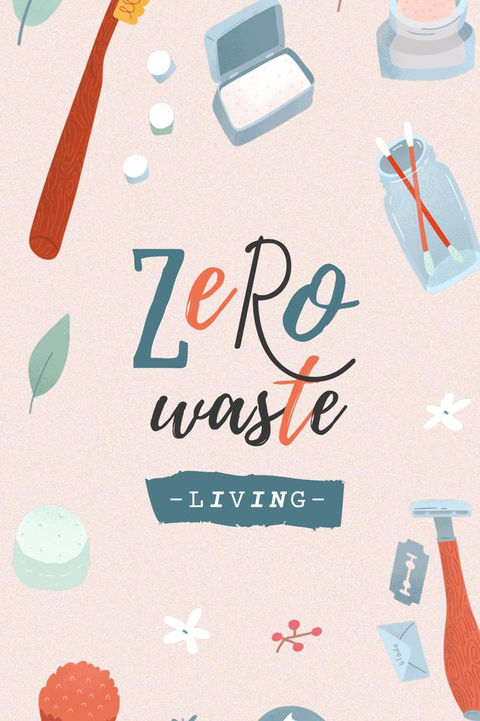 Zero Waste Concept with Eco Products Pinterestデザインテンプレート