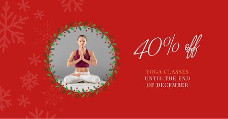 Yoga Christmas Offer with Woman in Lotus Pose Facebook AD Design Template