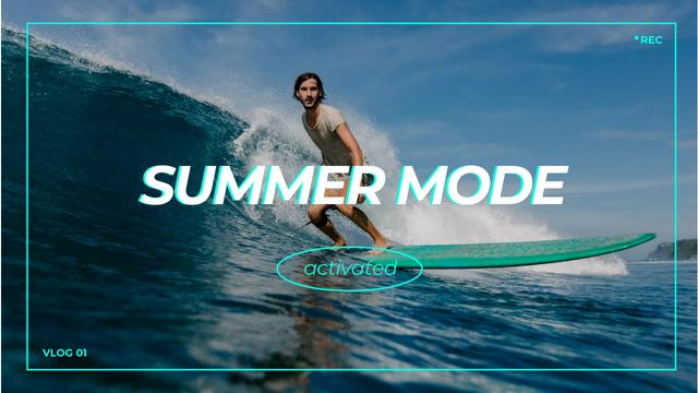 Summer Inspiration with Man on Surfboard Youtube Thumbnail – шаблон для дизайну