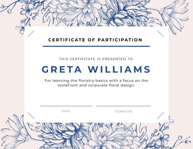 Template di design Florist courses Participation confirmation in blue Certificate