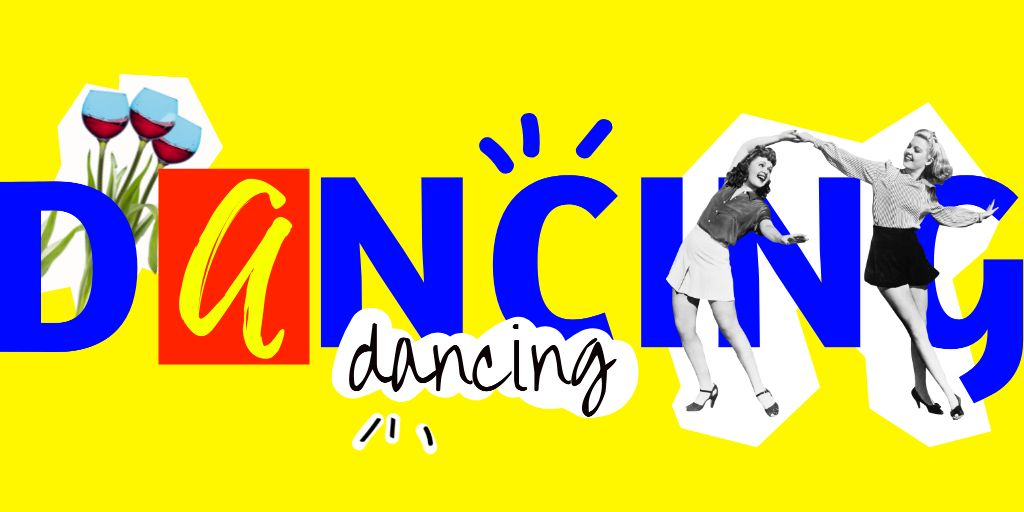 Cheerful Girls dancing Together Twitter Design Template