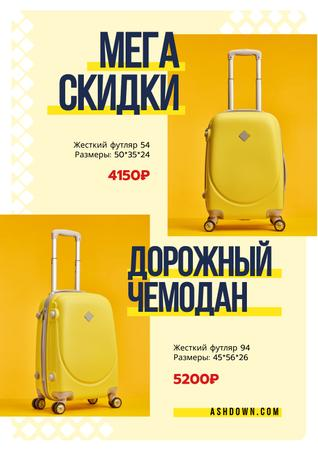 Travel Bags Sale Ad with Suitcases in Yellow Poster – шаблон для дизайна