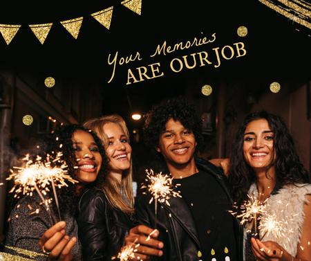 Template di design Happy Attractive Girls holding Sparkles Facebook