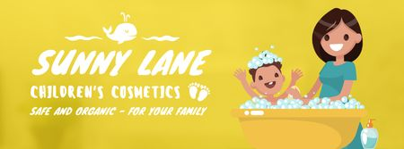 Plantilla de diseño de Mother bathing child Facebook Video cover