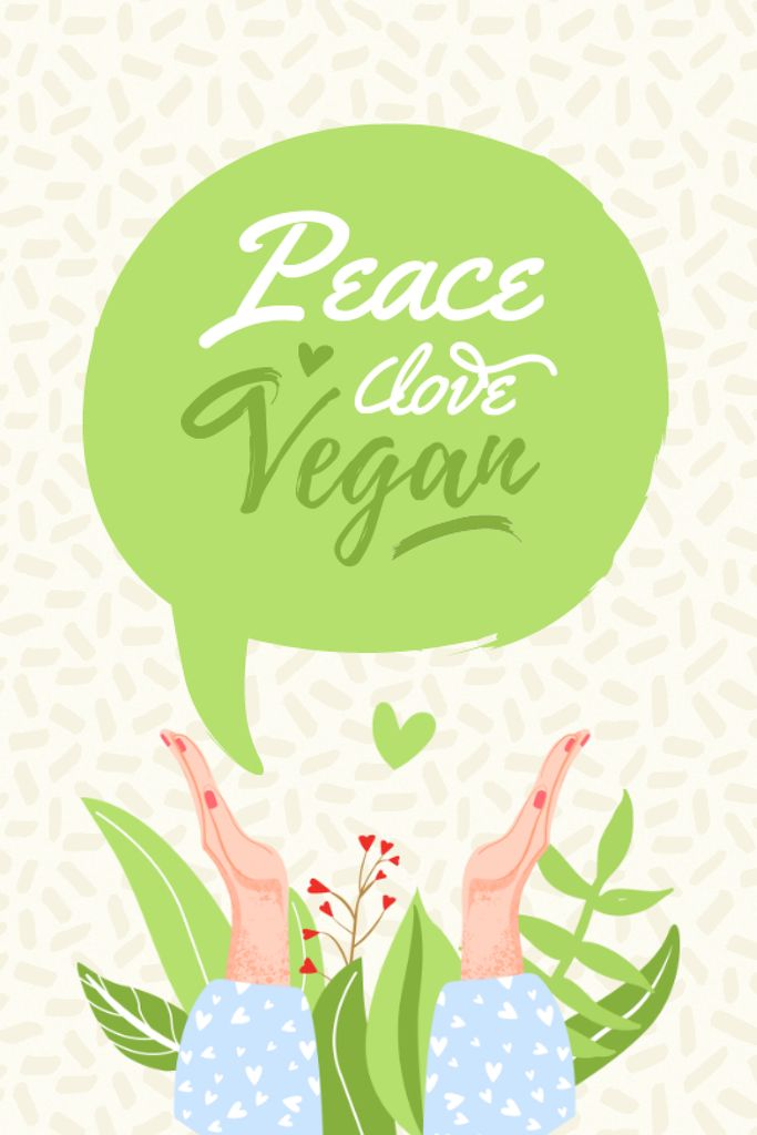 Vegan Lifestyle Concept with Green Plant Tumblr Design Template