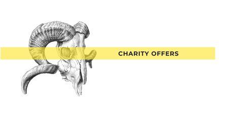 Ontwerpsjabloon van Facebook AD van Charity Ad with Illustration of Animal Skull