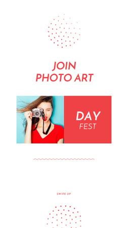 Plantilla de diseño de Photo Art Day Festival Announcement with Woman holding Camera Instagram Story