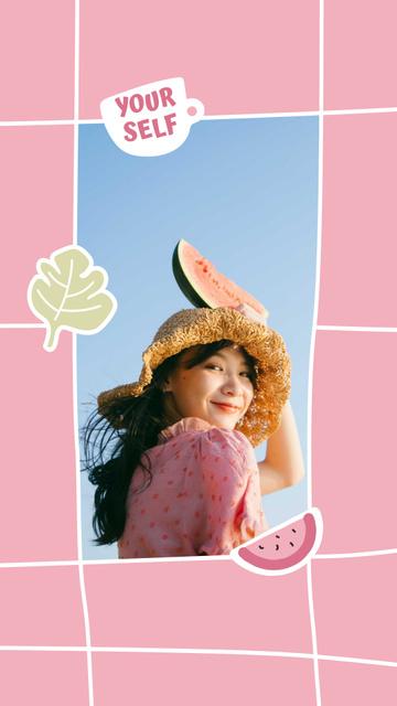 Plantilla de diseño de Cute Girl in Straw Hat holding Watermelon Instagram Video Story