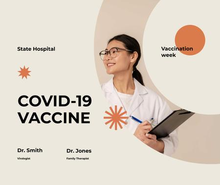 Coronavirus Vaccination Announcement with Friendly Doctor Facebook Modelo de Design