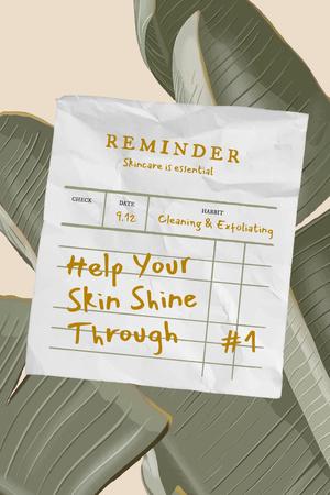 Plantilla de diseño de Skincare Ad with Green Plant Leaves Pinterest