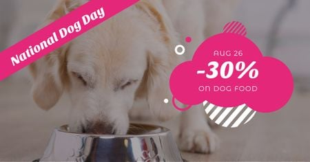 Discount for dog food on National Dog Day Facebook AD Tasarım Şablonu
