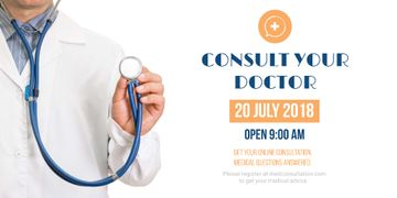 Consultation Announcement with Doctor holding Stethoscope