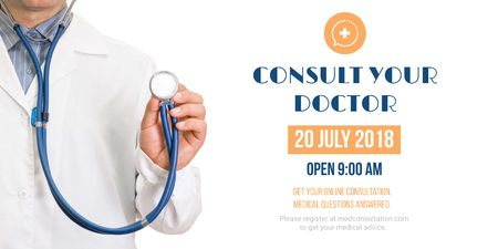 Consultation Announcement with Doctor holding Stethoscope Twitter Modelo de Design