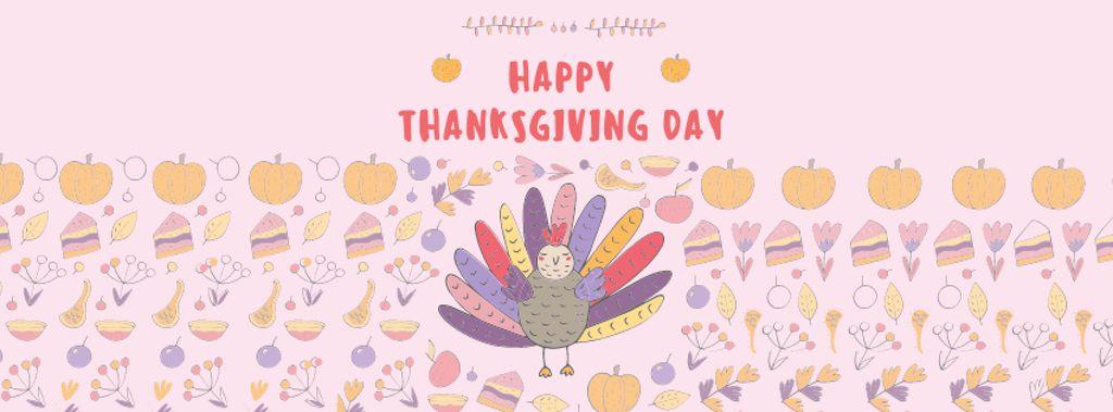 Ontwerpsjabloon van Facebook cover van Thanksgiving Day Greeting with Cute Turkey