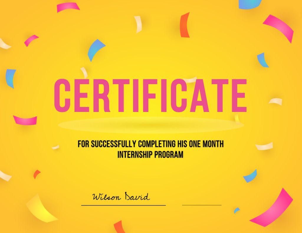 Internship Program Completing Award Certificate Modelo de Design
