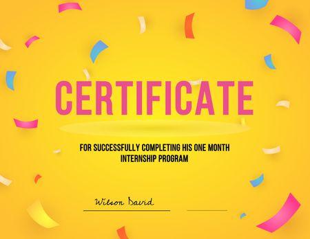 Modèle de visuel Internship Program Completing Award - Certificate