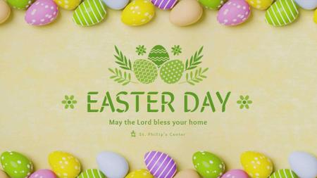 Colored Easter eggs for Easter Day Full HD videoデザインテンプレート
