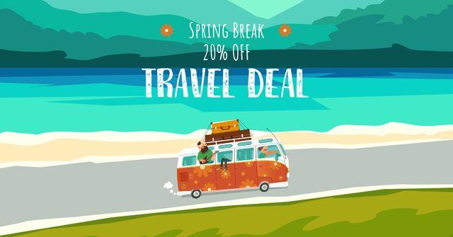 Modèle de visuel Spring Break Travel Offer with Bus - Facebook AD
