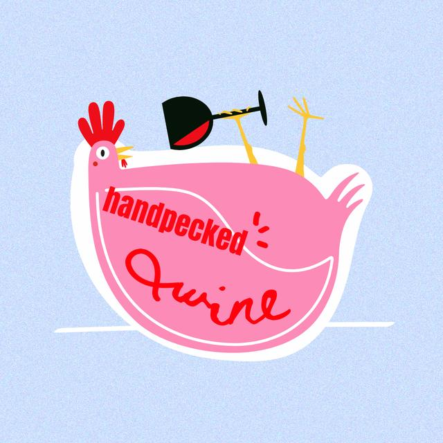Funny Illustration of Chicken with Wine Instagram – шаблон для дизайну