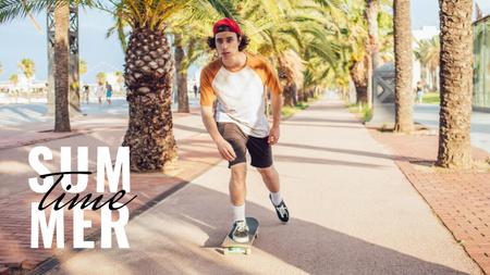 Summer Inspiration with Teenager riding Skateboard Youtube Thumbnail Tasarım Şablonu