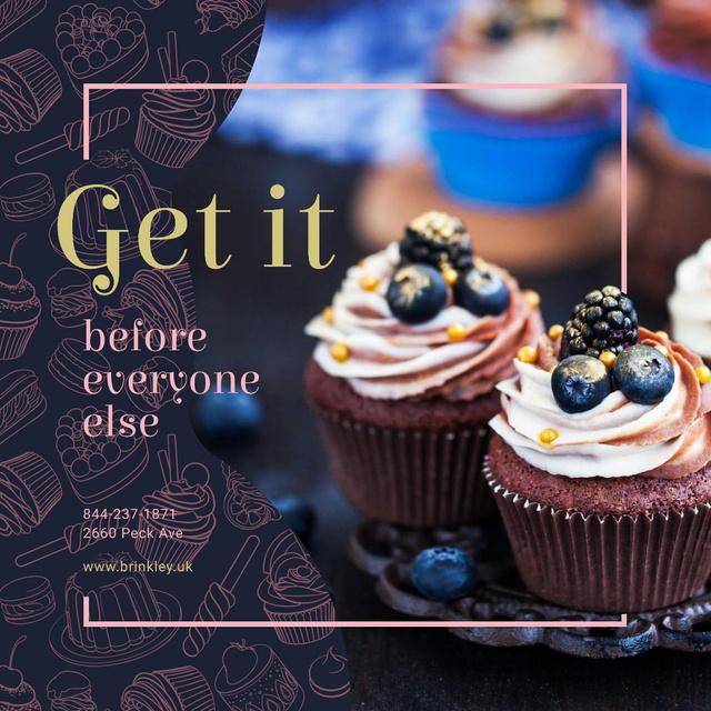 Plantilla de diseño de Delicious cupcakes for Bakery promotion Instagram AD