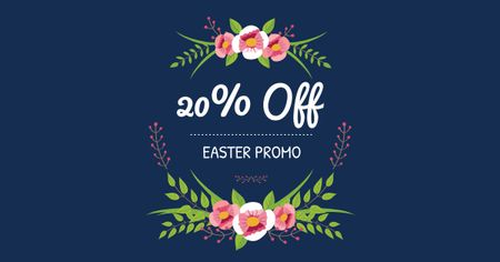 Easter Offer with Floral Wreath Facebook ADデザインテンプレート