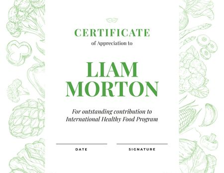 Template di design Healthy Food Program contribution Appreciation Certificate