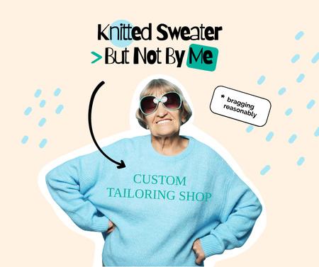 Template di design Fashion Ad with Funny Granny in Stylish Sweatshirt Facebook