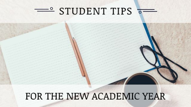 Student Tips Open Notebook and Coffee Title Tasarım Şablonu