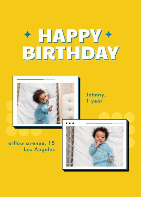 Ontwerpsjabloon van Invitation van Birthday Greeting of Little Cute Newborn Boy