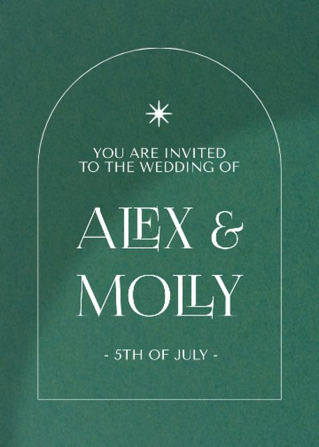 Wedding Day Announcement on Green Invitation – шаблон для дизайну