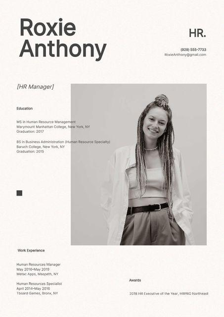 Ontwerpsjabloon van Resume van HR manager skills and experience